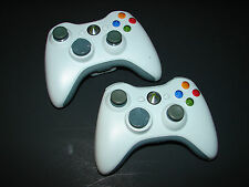 Lot of 2 Official Microsoft Branded XBOX 360 White Wireless Controllers.  OEM !!