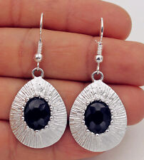 925 Silver Plated Hook-1.8'' Oval Rhinestone Waterdrop Bohemia Lady Earrings#17