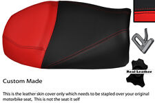 BRIGHT RED AND BLACK CUSTOM FITS MOTO GUZZI V11 DUAL LEATHER SEAT COVER
