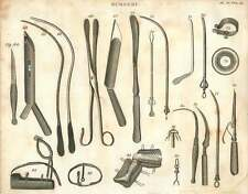 1802  Surgical Instruments Gorget Catheter Canula Bandage etc Copperplate