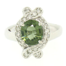 14k Solid White Gold 2.40ctw Oval Green Tourmaline Round Diamond Cocktail Ring