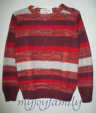 HANNA ANDERSSON Cozy Marled Stripe Cableknit Sweater Red Multi 100 4T 4 NWT