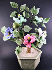 CHINESE CARVED STONE FENG SHUI JADE BONSAI MONEY TREE MULTI COLOR FLOWERS (LE)
