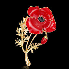 Jabbit Enamel Remembrance Day Gifts Red Poppy Flower Pins Brooch Broach Badge 1P