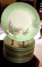 "VTG Limoges 9 1/4"" Dinner Plates, Set of 12,  beautiful pale green floral.France"