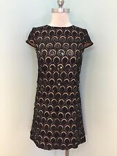 NEW Catherine Malandrino XS 2 Black Shift Dress cocktail career Lace Overlay LBD