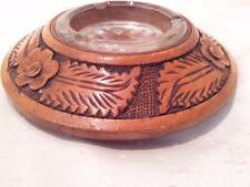 FINE  ARTS & CRAFTS TURNED AND CARVED ASHTRAY WITH ORIGINAL GLASS INSERT