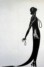 Erte Matted Print 1982 -  A KISS in the SHADOWS - Vintage Art Deco Illustration