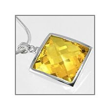 Sterling Silver Square Pendant w/CZ Yellow 21mm #65344