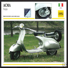 1951 Acma Vespa Scooter Moped 125cc Bike Motorcycle Photo Spec Info Stat Card