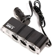 CHEAP 12v 3 Way Car Cigarette Lighter Power Socket Adapter USB Port Chargers