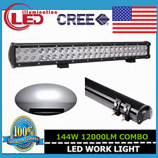 23INCH 144W CREE SPOT FLOOD WORK DRIVING LED LIGHT BAR 12V 24V 4WD JEEP SUV 126W