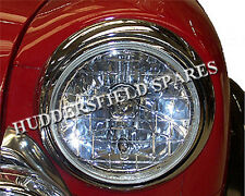 "Classic Mini 7"" Crystal Halogen Headlamp units pair with H4 bulbs, NEW"