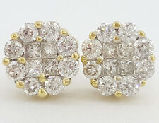 0.80 ct 14K Yellow Gold Flower Cluster Round Cut Diamond Stud Earrings 2.3 Grams