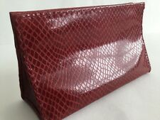 BNWOT COMPACT RED/BURGUNDY 'MOCK CROC' COSMETIC BAG/PURSE