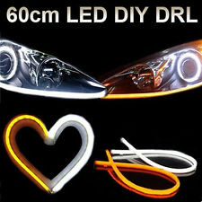 2PCS 60CM Flexible Tube Guide Car LED Strip White DRL Amber Turn Signal Light LW