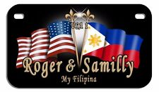 Philippine USA Flags Motorcycle License Plate Personalize Gift American Filipino