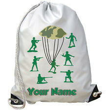 GREEN TOY SOLDIER'S PERSONALISED SWIMMING / GYM / PE BAG *GREAT BOYS NAMED GIFT*