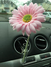 11CM BABY PINK GERBERA DAISY VW FLOWER AND  AUTO CAR VENT VASE, UNIVERSAL