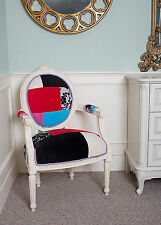 French Louis Armchair Patchwork Shabby Chic Antique Style Bedroom Hall White