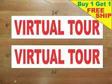 """VIRTUAL TOUR 6""""x24"""" REAL ESTATE RIDER SIGNS Buy 1 Get 1 FREE 2 Sided Plastic"""