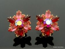 Sign. Designer beaujewels ROSA ROSSA Hollywood Cocktail Party Strass Orecchini