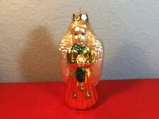 Vintage Large Iridescent Mercury Glass Christmas Angel Ornament With Box