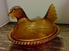 Vintage Chicken Hen Gold Glass Hobnail Edge Covered Dish Bowl