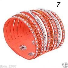 Bracelet Wrap Slake mode fashion strass orange, transparent bijoux fantaisie.