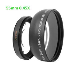 Professional 55mm 0.45X Wide Angle Macro Conversion Lens For Canon Nikon Sony