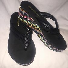 Women's Juicy Couture Platform Wedge Straw Flip Flops Black/Multi Small 5-6 EUC!