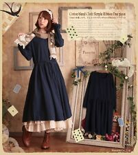 Vintage Sweet Lolita Elegant Mori Girl Japanese Preppy Style Long Sleeve Dress