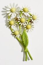 broche bijou rétro vintage bouquet de marguerites émail couleur en relief * 3318