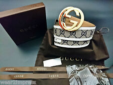 Authentic GUCCI Belt Beige Blue GG white leather interlocking 95/38 WAIST:32-34