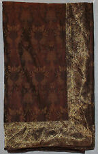 "VINTAGE ELEGANT SILK W/ GOLD THREADS BROWN LINED THROW 86"" X 100"" EXCELLENT"