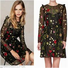 NEXT £95 Black Embroidered Floral Long Sleeved Dress With Net Overlay UK10/38 BN
