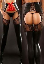 Women's Sexy Lingerie PVC Faux Leather Bondage Thigh High Stockings + G-string