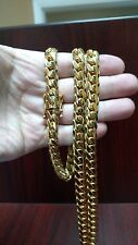 """36"""" 10mm 14k Gold Plated Silver Miami Cuban Link Chain, 215 Grams"""
