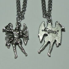 "Archangel St Michael Angel Charm ""Miguel"" Medal & Chain Soldiers Police Officers"
