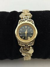 "New Women's Seiko 14K Solid Yellow Gold Filligree Style Bracelet 7"" Wrist Watch"
