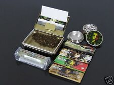 5 Pack 1 1/4 Reggae Rolling Papers+78mm Rollers+Metal Grinder+Tobacco Box #807