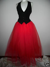 long red tutu skirt 8 10 12 maxi gothic lagenlook victorian fairy witch adult UK