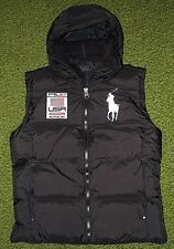 Mens $245 (S) POLO-RALPH LAUREN Black Down Puffer USA/ BIG PONY Hooded Ski Vest