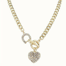 New Fashion Women Gold Plated Crystal Pendant Heart Long Chain Necklace