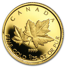 2009 Canada 1/25 oz Proof Gold $0.50 Red Maple - SKU #79103