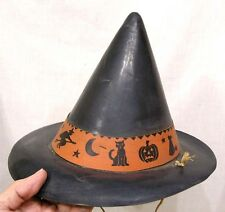 Vintage Halloween Black Witch Hat w Paper Band Owls Cats Witches