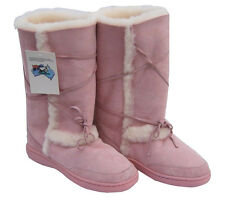 Sundance Tall Ugg Boots Pink Aus Sheepskin Rubber Sole Unisex Wool Boot New
