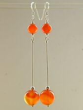 Carnelian Gemstones & 925 Sterling Silver Long Drop Elegant Handmade Earrings