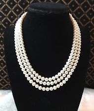 14K Yellow Gold Lustrous AKOYA Pearls 6mm 16'' Triple 3 Strand Necklace WOW!