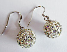 Crystal Ball Drop Earrings - Sterling Silver - Amazing Light Catching Stones